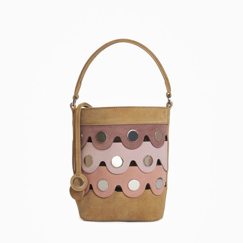 PIERRE HARDY   PENNY BUCKET BAG  MULTI-CAMEL-PINK