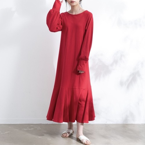 【yukichi.】back less mermaid one-piece/RED