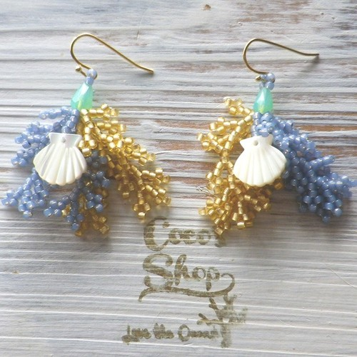Coralreef motif Pierce -Shell Blue-