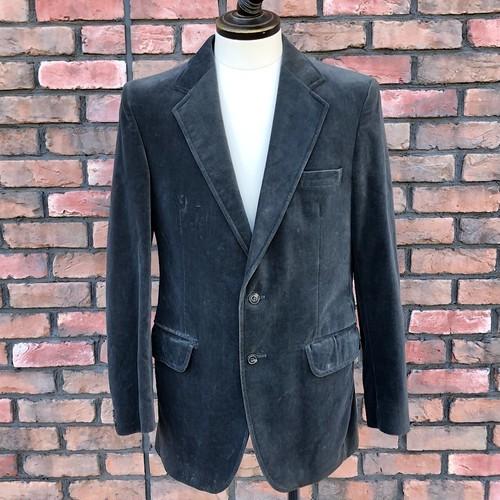 1980s C&A Velvet Jacket Made In England Gray UK38