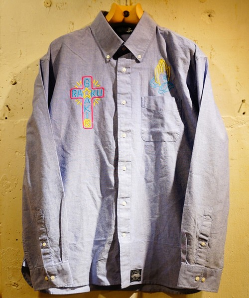 RAKUGAKI NEON Embroidery OX Ford Shirts Blue × Multi