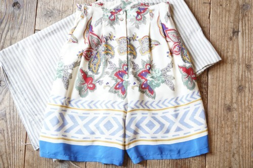 60's provence textile rayon Culottes