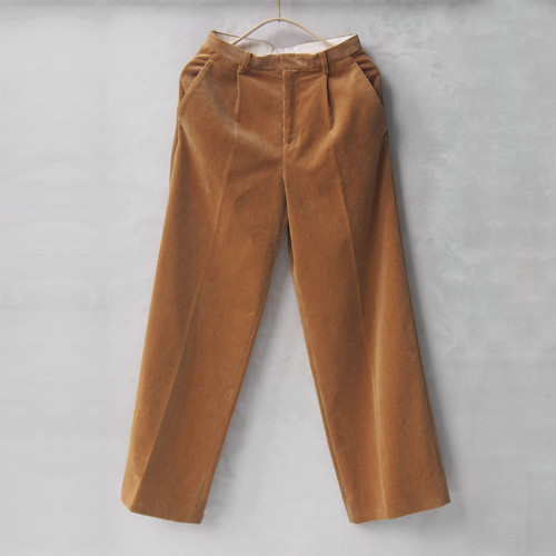 AURALEE WASHED CORDUROY WIDE SLACKS CAMEL BEIGE