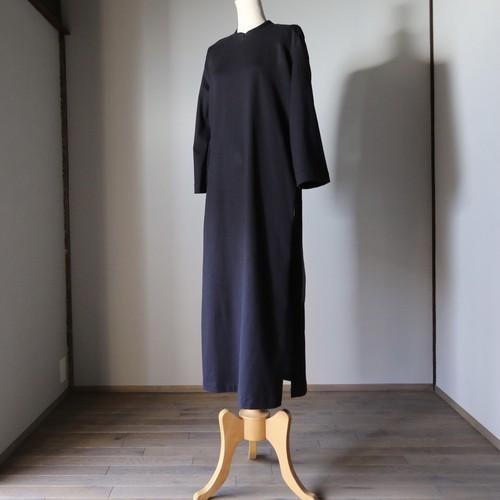 THE HINOKI オーガニックコットン スタンドアップカラースリットドレス BLACK #TH21S-40