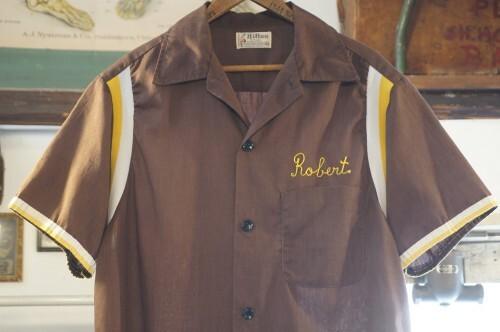 "70's Hilton chain-stitch bowling Shirt ""Robert Hansen"""