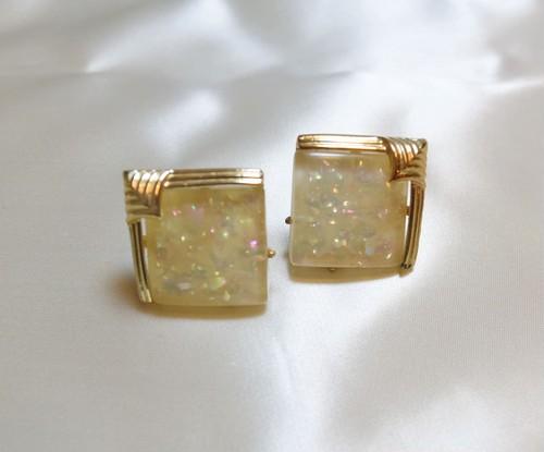 VINTAGE glitter square earring
