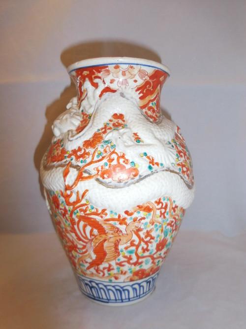 色絵龍花器 porcelain vase(dragon)