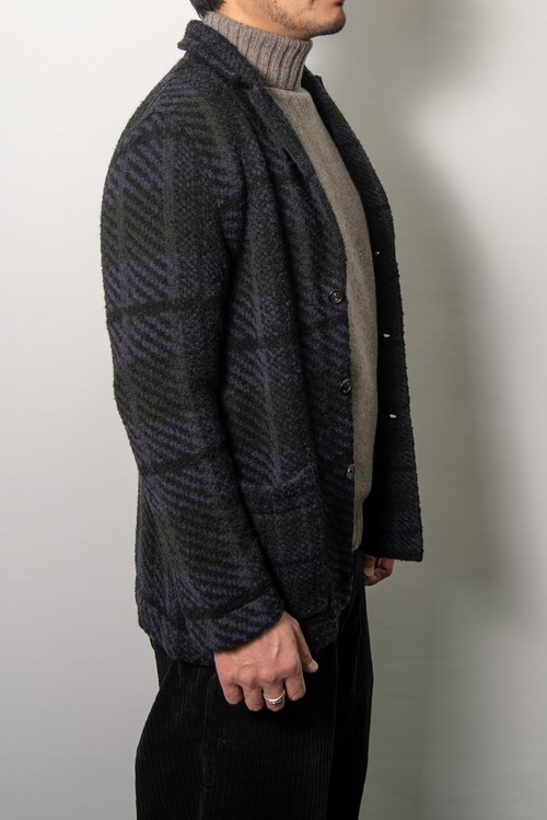 【COOHEM MEN】VINTAGE CHECK TWEED JACKET:ブラックネイビー