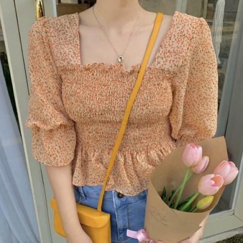 小花柄シフォンシャツ U3795