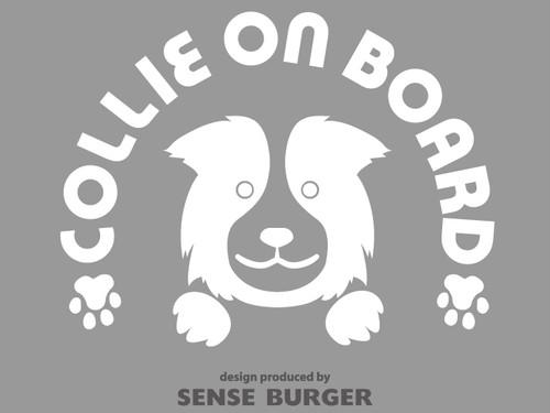 Collie on board 車に貼り付け シール ステッカー DOG IN CAR デカール 黒 愛犬 ボーダーコリー コリー 白 ホワイト【sti02911whi】