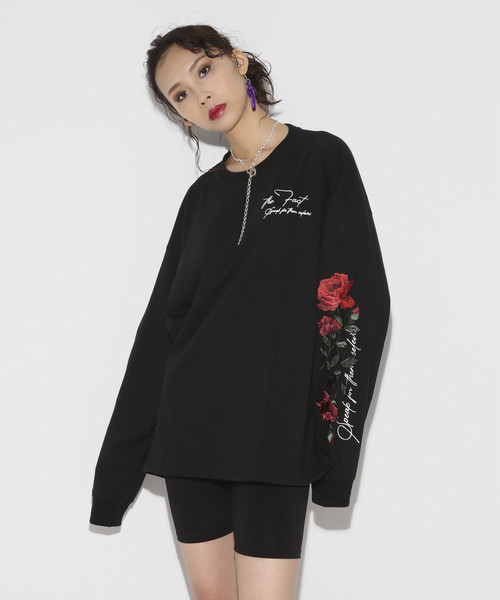 9th Anniversary Rose Embroidery Long sleeve T-shirt [Black]
