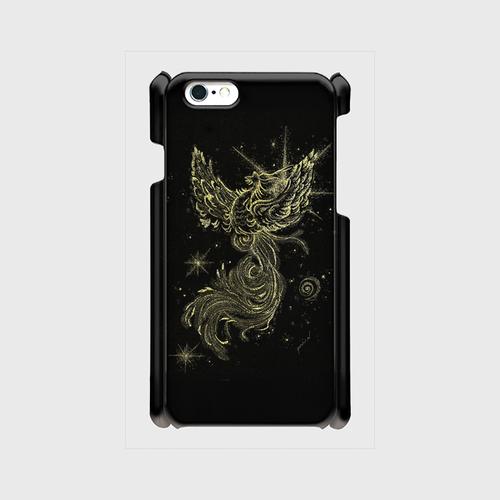 iPhone6/6Sスマホケース開運点描画 鳳凰(黒)