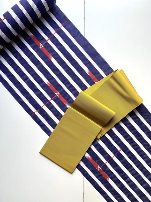 【浴衣】紫織庵 縦縞にトンボ柄 浴衣(紫)お仕立て代込み