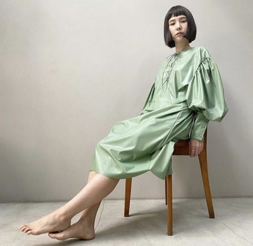 New!! Eco leather Leg of mutton dressミディアム丈/ Lace up /Mint (2021 New collection)