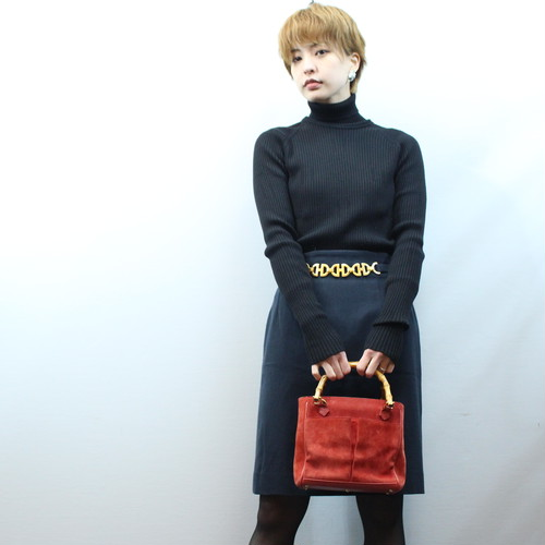 2000000026985 HERMES CASHMERE BREND WOOL HIGH NECK KNIT MADE IN ITALY/エルメスカシミヤ混ウールハイネックニット