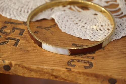old wood × shell inlay Bangle