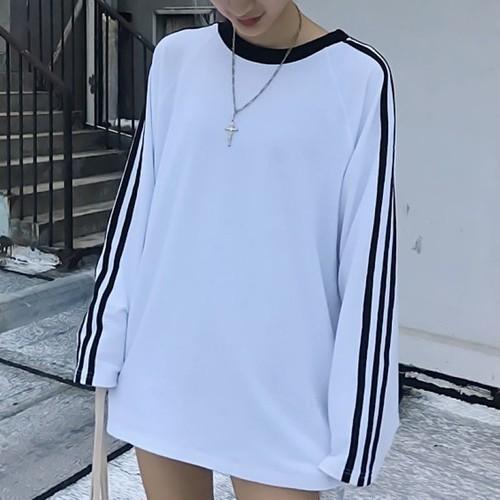 【配送優先】【トップス】長袖カップルカジュアル配色切り替えプルオーバー合わせやすいTシャツ26569350