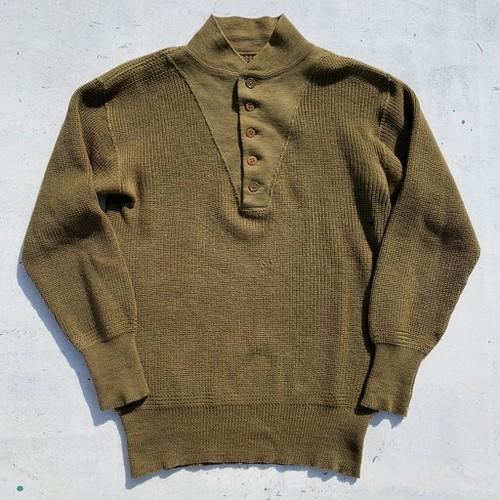 40's U.S.ARMY ハイネックセーター ジープセーター オリーブ ヘンリーネック 5つボタン WW II ミリタリー 米軍 38位 希少 ヴィンテージ