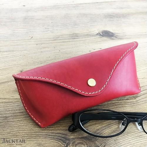 眼鏡ケース Sサイズ/オイルレザー 牛革(赤)