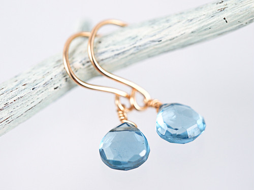 14KGF London Blue Topaz Earrings