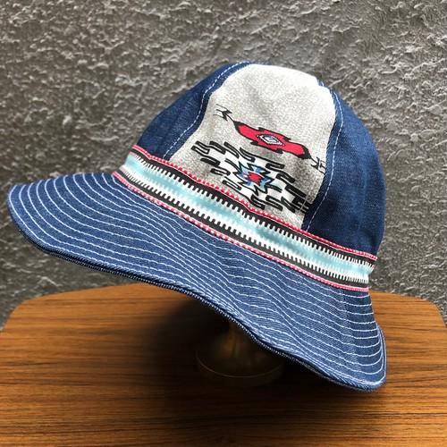 超レア! ネイティブ インディアン サンダーバード柄② デニム ツートン仕様 バケットハット DENIM BUCKET HAT 帽子 59-60cm