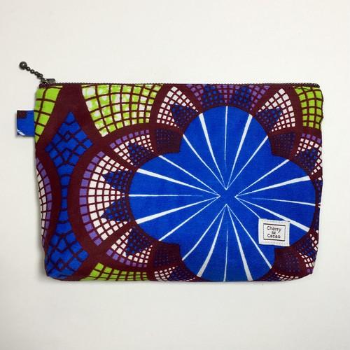 ポーチ アフリカンテキスタイル(日本縫製) 「朝顔」 ブルー x ライトグリーン x ブラウン アフリカ エスニック ガーナ布
