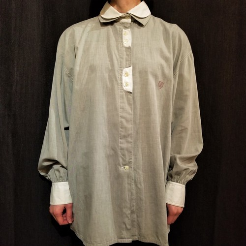 Double collar chambray blouse Made In Italy[G-893]