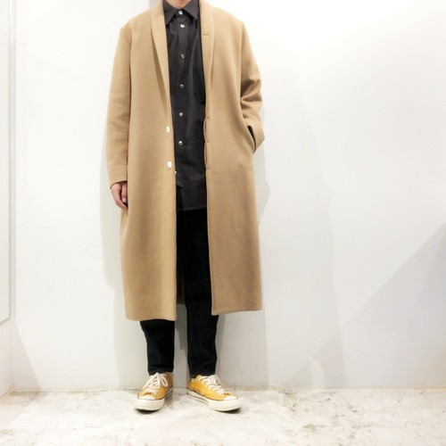 NO CONTROL AIR 【ノーコントロールエアー】 Baby lamb wool double cloth Shawl collar coat