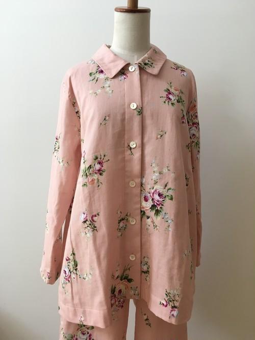 【IKUKO】2色 前開きパジャマ ダブルガーゼ コットン100 Pink/Ivory
