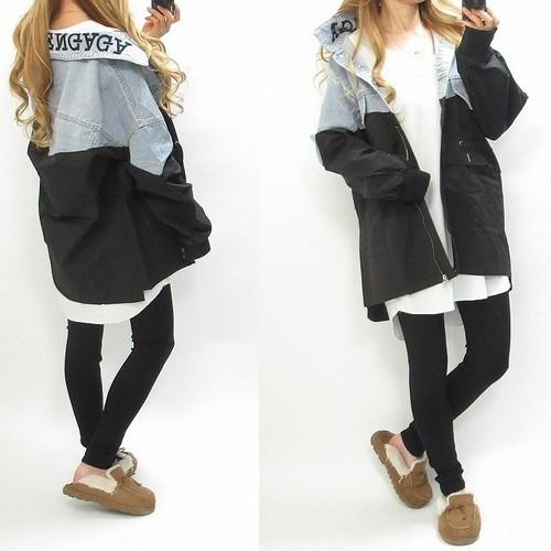 襟ロゴ刺繍 ドッキング パッチワーク風 デニムモッズコート デニムジャケット ブラック