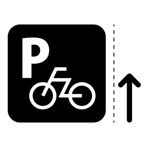 自転車駐輪場案内マークのカッティングシートステッカー