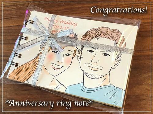 似顔絵オーダー★リングメモノート・クラフト紙★記念 結婚 誕生日 ご家族のお祝いに