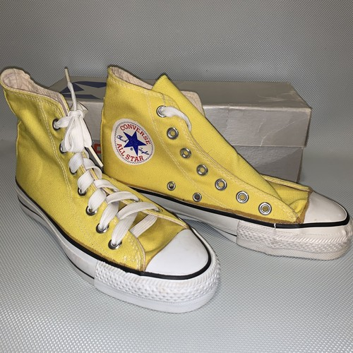 80's CONVERSE ALL STAR /Boy's Hi 4/ Yellow Canvas  Dead Stock
