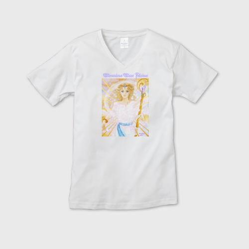 白メンズVネックTシャツ Success Muse Felicitas 成功の女神 フェリキタス