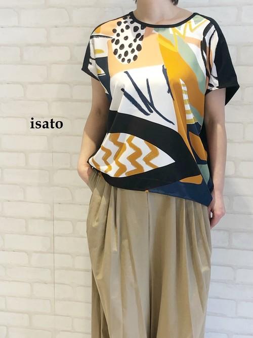 【再入荷】isato/オリジナルプリントカットソー/IS-T-066(Navy)