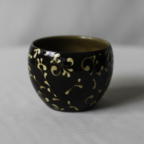 SLIPWARE BOWL POT(唐草模様)※BROWN