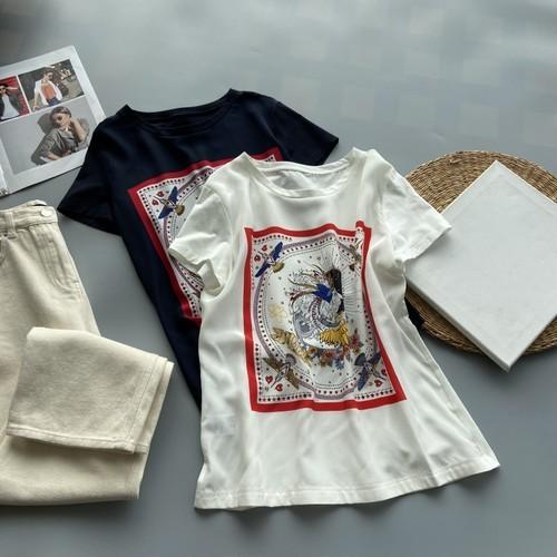 【tops】流行に流されない プリント優しい雰囲気カジュアルTシャツゆったり2色