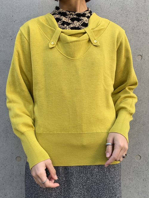 (TOYO) yellow design knit tops
