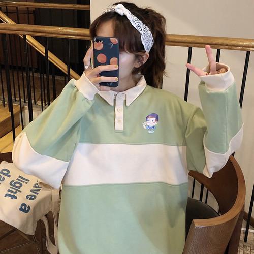 【トップス】レディース配色POLOネック清新キュートスウィートシャツ24229595