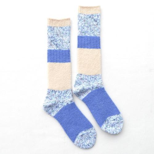ざっくり編み くつした(ロングタイプ)【salvia-サルビア】ブルー