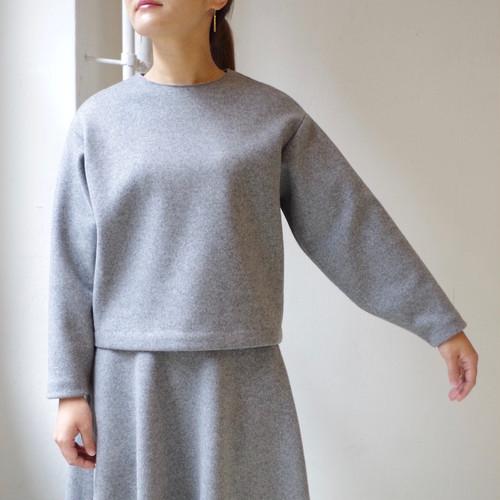 """<受注生産>ウールのシンプルなクルーネックトップス """"gray"""""""