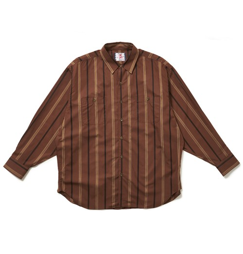 SON OF THE CHEESE サノバチーズ Stripe Big Shirt(BROWN) SC2020-SH08