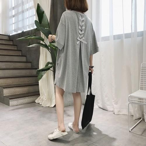 【送料無料】【2色】バックリボン ゆったり ビッグシルエット Tシャツ ワンピース 半袖 カジュアル 春夏