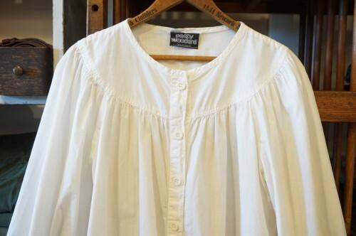 70's white cotton smock Blouse
