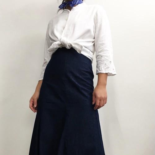 ユーズド 刺繍レーヨンシャツ ノーカラー ナチュラル ホワイト