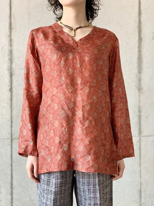 Vintage Woodblock Print Pullover Silk Blouse Made In India