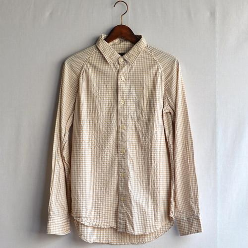 ラグランギンガムチェックシャツ【modem design】イエロー
