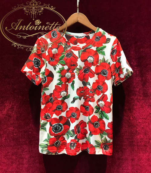 Summer High Quality Runway Women's Cotton T-shirt Flower Printing Luxurious Beading Diamond Leisure Top Women