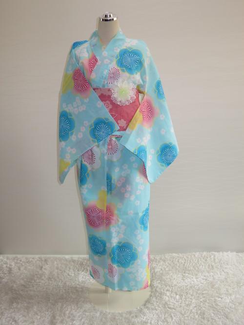 【販売】車椅子用浴衣 スカートタイプ37 Mサイズ(水色 花)