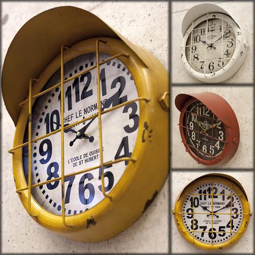 インダストリアル*アイアンウォールクロック*アンティーク壁掛け時計*3色展開*本州送料無料